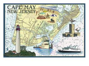 Cape May, New Jersey - Nautical Chart by Lantern Press