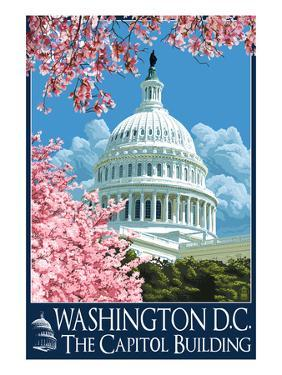 Capitol Building and Cherry Blossoms - Washington DC by Lantern Press