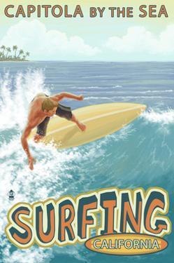Capitola, California - Capitola by the Sea Surfer Scene by Lantern Press