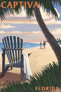 Captiva, Florida - Adirondack Chair on the Beach by Lantern Press