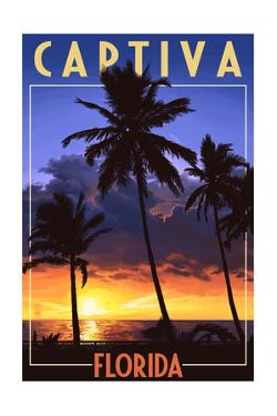 Captiva, Florida - Palms and Sunset by Lantern Press