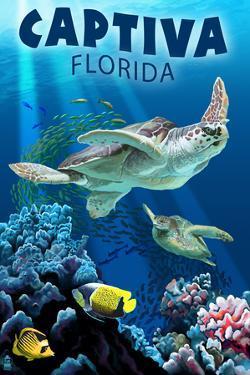 Captiva, Florida - Sea Turtle Swimming by Lantern Press