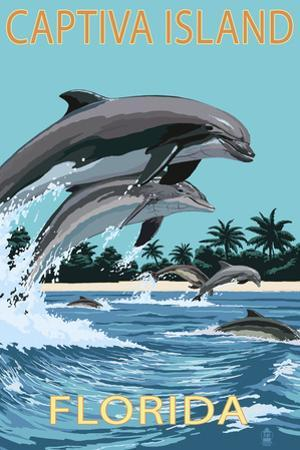 Captiva Island, Florida - Dolphins Swimming by Lantern Press