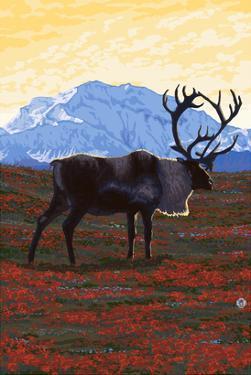 Caribou and Mountain by Lantern Press