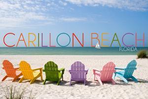 Carillon Beach, Florida - Colorful Beach Chairs by Lantern Press