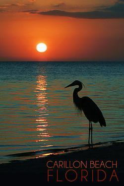 Carillon Beach, Florida - Heron and Sunset by Lantern Press