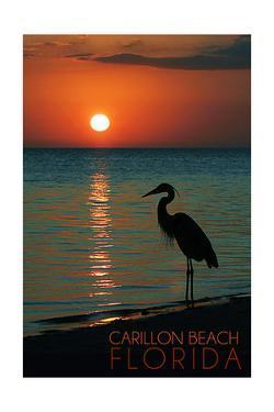 Carillon Beach, Florida - Heron and Sunset by Lantern Press