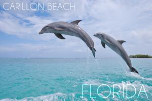 Carillon Beach, Florida - Jumping Dolphins by Lantern Press