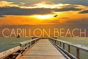 Carillon Beach, Florida - Pier at Sunset by Lantern Press