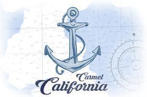 Carmel, California - Anchor - Blue - Coastal Icon by Lantern Press