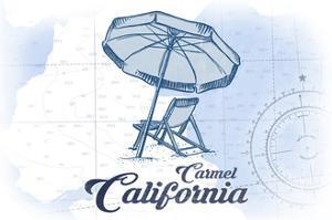 Carmel, California - Beach Chair and Umbrella - Blue - Coastal Icon by Lantern Press