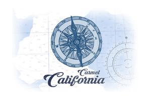 Carmel, California - Compass - Blue - Coastal Icon by Lantern Press