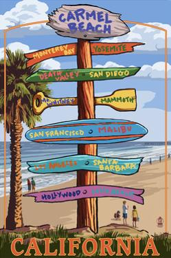 Carmel, California - Destination Signpost by Lantern Press