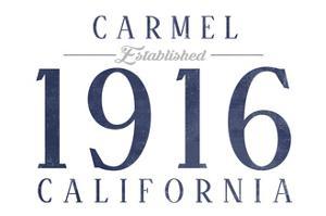 Carmel, California - Established Date (Blue) by Lantern Press