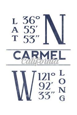 Carmel, California - Latitude and Longitude (Blue) by Lantern Press
