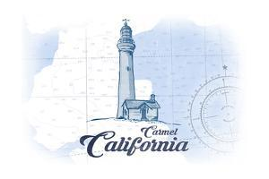 Carmel, California - Lighthouse - Blue - Coastal Icon by Lantern Press