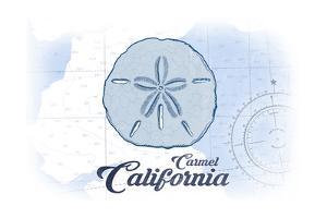 Carmel, California - Sand Dollar - Blue - Coastal Icon by Lantern Press