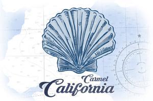 Carmel, California - Scallop Shell - Blue - Coastal Icon by Lantern Press