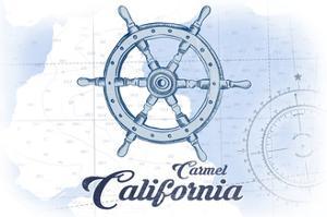 Carmel, California - Ship Wheel - Blue - Coastal Icon by Lantern Press