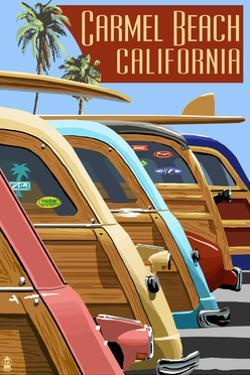 Carmel, California - Woodies Lined Up by Lantern Press