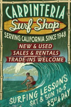 Carpinteria, California - Surf Shop Vintage Sign by Lantern Press