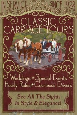 Carriage Tours - Vintage Sign by Lantern Press