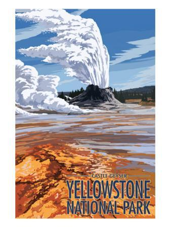 Castle Geyser - Yellowstone National Park by Lantern Press