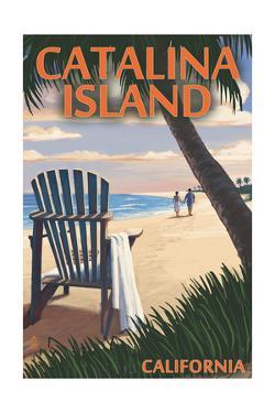 Catalina Island, California - Adirondack Chairs and Sunset by Lantern Press