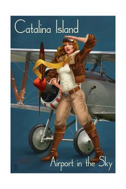 Catalina Island, California - Aviator Pinup Girl by Lantern Press