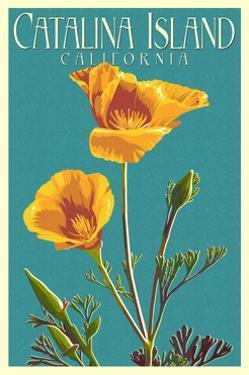 Catalina Island, California - Poppy - Letterpress by Lantern Press