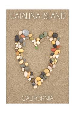 Catalina Island, California - Stone Heart on Sand by Lantern Press