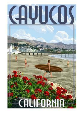 Cayucos, California - Beach and Pier Scene by Lantern Press
