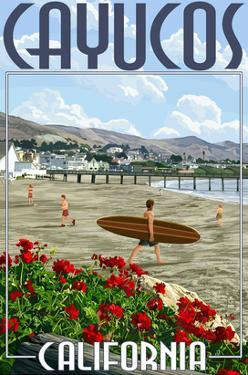 Cayucos, California - Beach and Pier Scene by Lantern Press