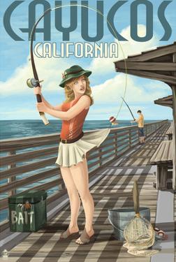 Cayucos, California - Pinup Girl Fishing by Lantern Press