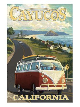 Cayucos, California - VW Van Coastal Drive by Lantern Press