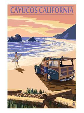 Cayucos, California - Woody on Beach by Lantern Press