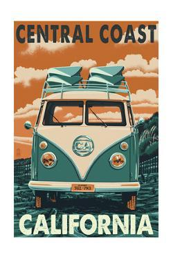 Central Coast, California - VW Van by Lantern Press