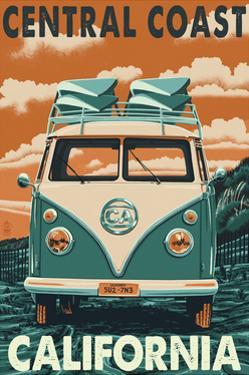 Central Coast, California - VW Van by Lantern Press