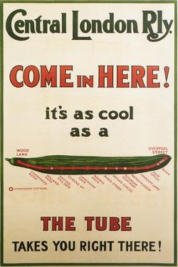 Central London Underground Railway - Cucumber Vintage Poster by Lantern Press
