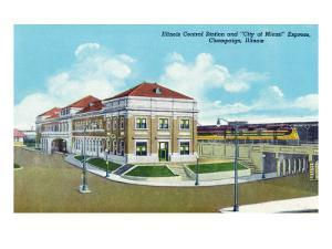 """Champaign, Illinois, Exterior View of Illinois Central Train Station, """"City of Miami"""" Express by Lantern Press"""