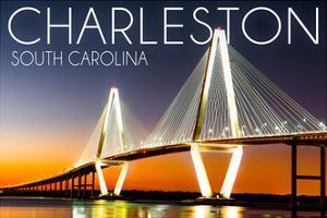 Charleston, South Carolina - Arthur Ravenel Jr. Bridge at Sunset by Lantern Press