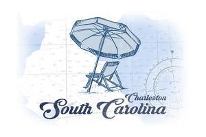 Charleston, South Carolina - Beach Chair and Umbrella - Blue - Coastal Icon by Lantern Press