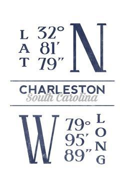 Charleston, South Carolina - Latitude and Longitude (Blue) by Lantern Press
