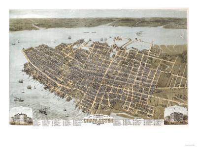 Charleston, South Carolina - Panoramic Map