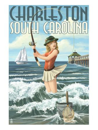 Charleston, South Carolina - Pinup Girl Surf Fishing