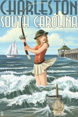 Charleston, South Carolina - Pinup Girl Surf Fishing by Lantern Press