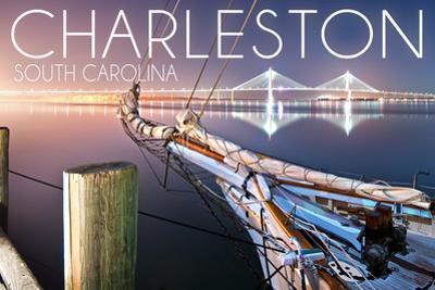 Charleston, South Carolina - Sailboat and Arthur Ravenel Jr. Bridge