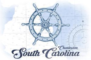 Charleston, South Carolina - Ship Wheel - Blue - Coastal Icon by Lantern Press