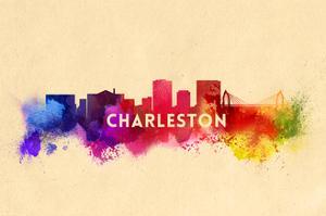 Charleston, South Carolina - Skyline Abstract by Lantern Press