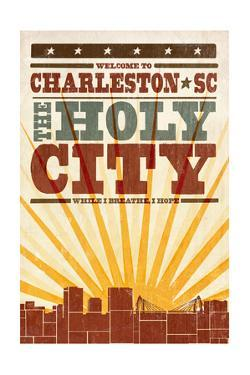 Charleston, South Carolina - Skyline and Sunburst Screenprint Style by Lantern Press